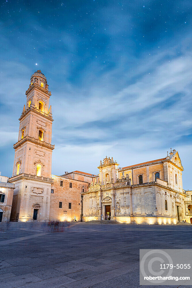 Bell tower and Cathedral at night, Piazza del Duomo, Lecce, Salento, Apulia, Italy