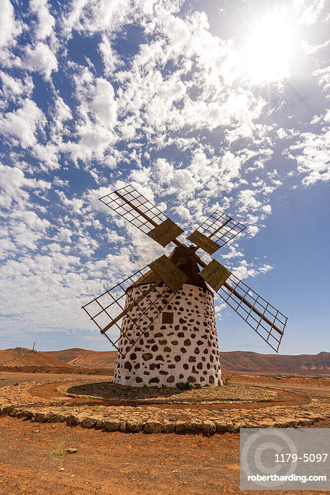 Traditional stone windmill in La Oliva, Fuerteventura, Canary Islands, Spain