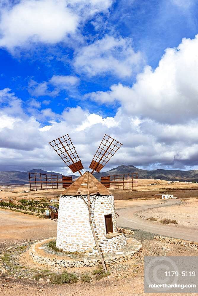 High angle view of traditional old windmill during a sunny day, Tefia, Fuerteventura, Canary Islands, Spain