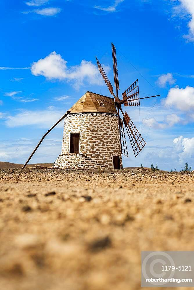 Traditional windmill in the rural landscape of Tefia, Fuerteventura, Canary Islands, Spain, Atlantic, Europe