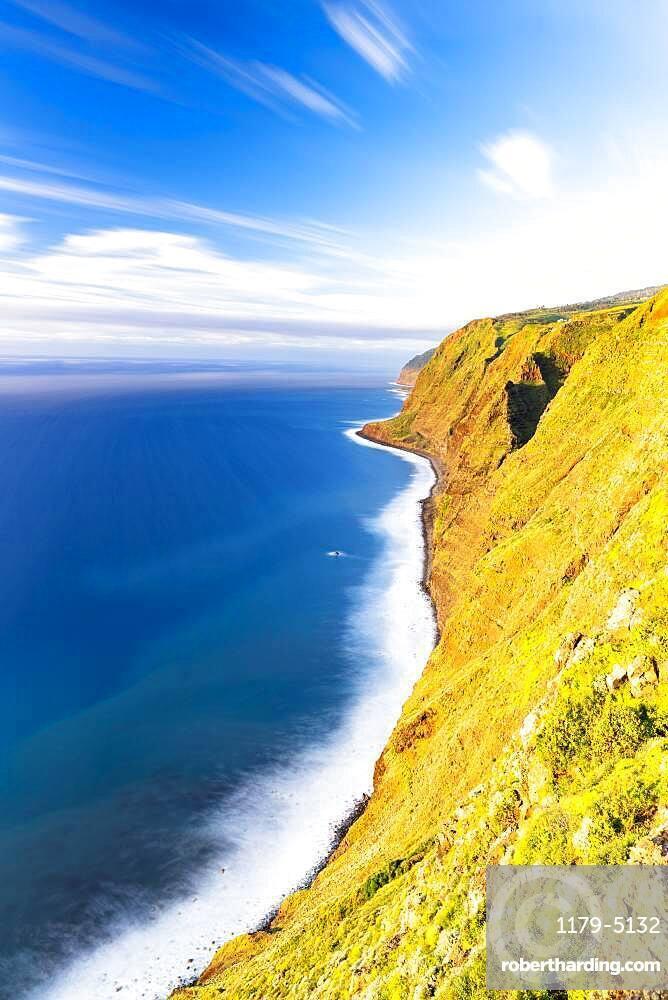 Majestic cliffs of Ponta Do Pargo and ocean at sunset, Calheta, Madeira island, Portugal