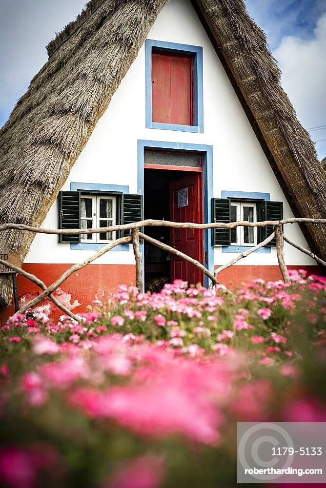 Traditional thatched house in the flowering meadows, Santana, Madeira island, Portugal