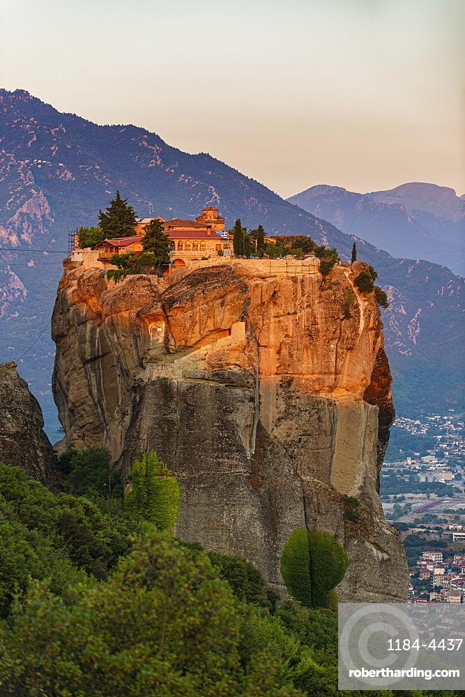 Holy Monastery of Holy Trinity at sunrise, Unesco world heritage site Meteora monateries, Greece