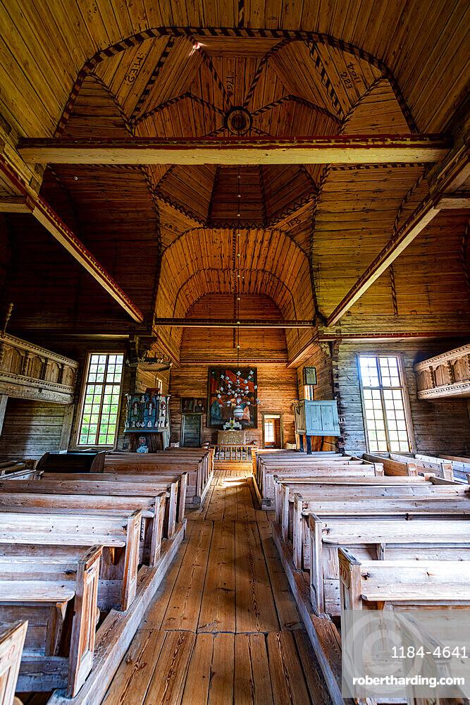 Interior of Petaejeveden (Petajavesi Old Church), Petajavesi, UNESCO World Heritage Site, Finland, Europe