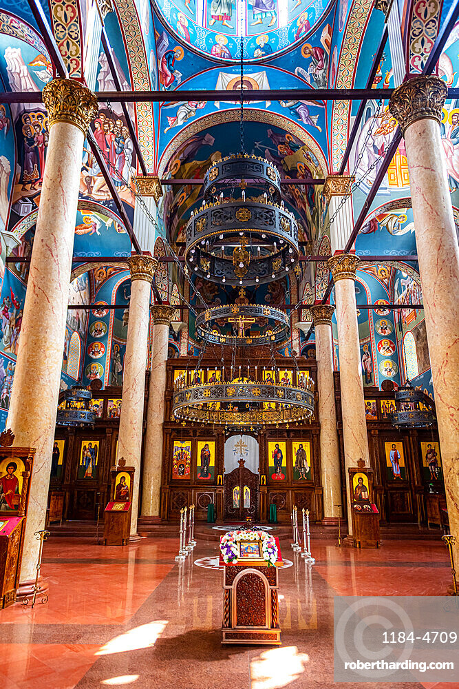 Colourful religious wall paintings, Orthodox Holy Trinity Cathedral, Nis, Serbia, Europe