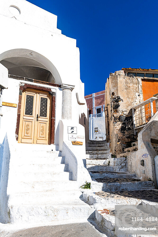 Whitewashed architecture in Pyrgos, Santorini, Greece