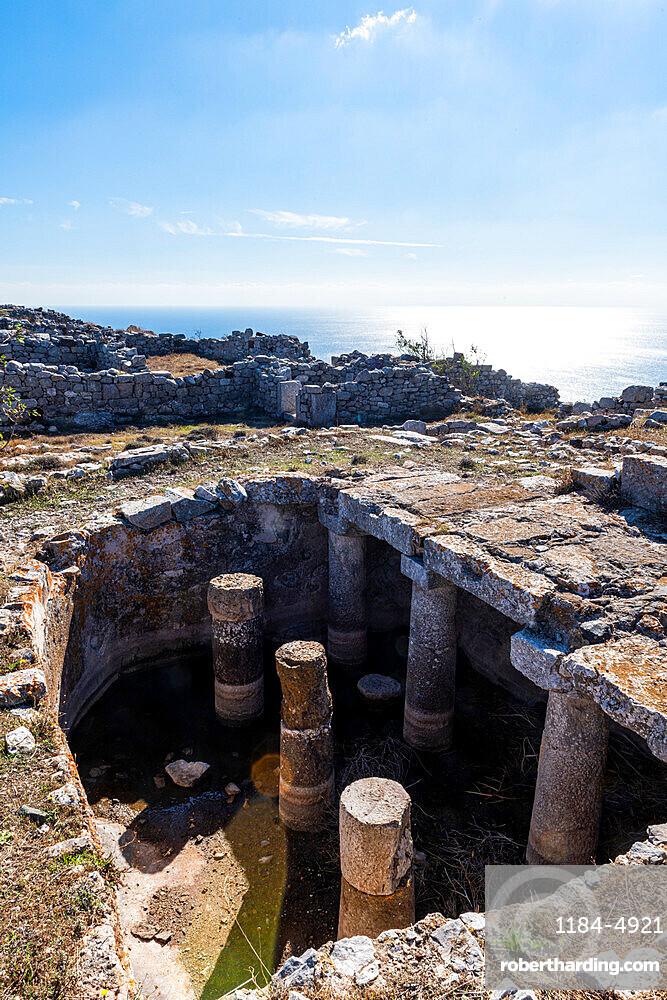 Ruins of ancient Thera, Santorini, Greece