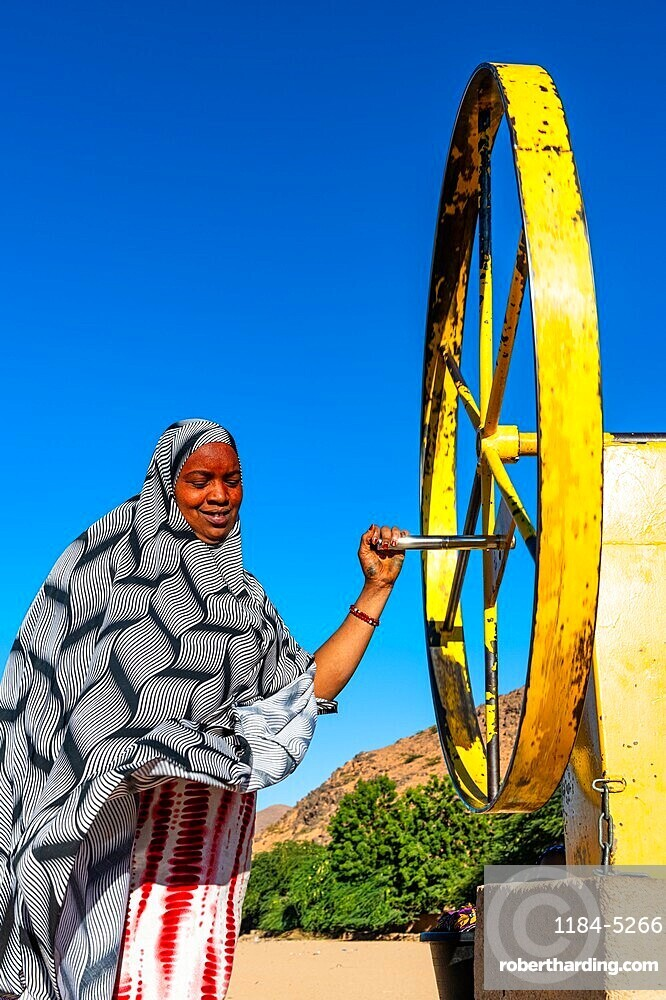 Woman at a waterwheel pumping for water, Oasis Timia, Air mountains, Niger