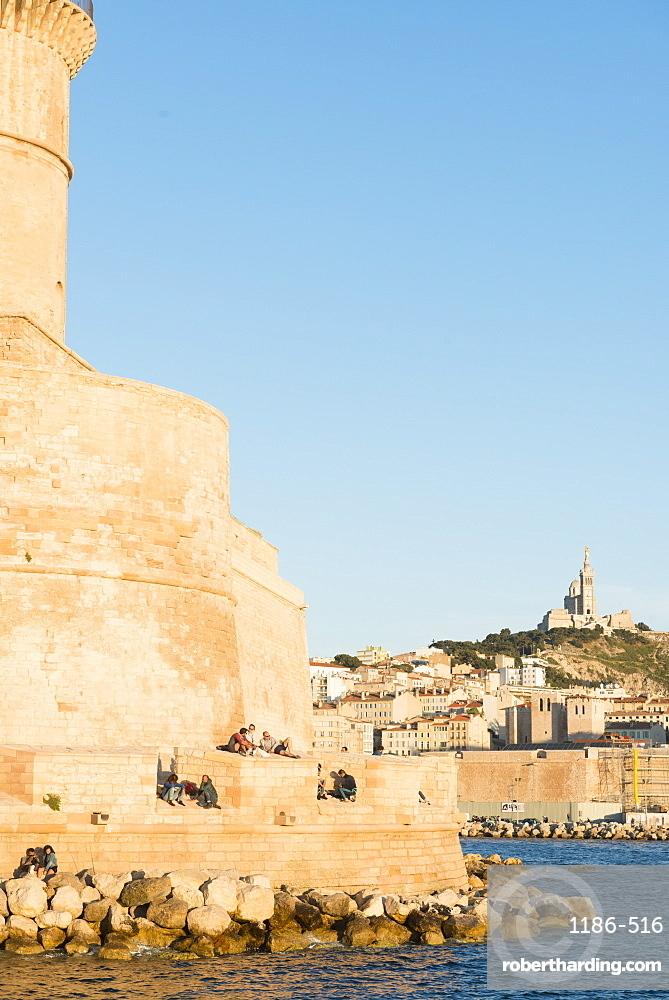 Fort Saint Jean and Notre Dame, Marseille, Bouches du Rhone, Provence, Provence-Alpes-Cote d'Azur, France, Mediterranean, Europe