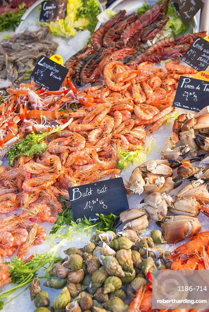 Fresh seafood, Aix en Provence, Bouches du Rhone, Provence, Provence-Alpes-Cote d'Azur, France, Europe