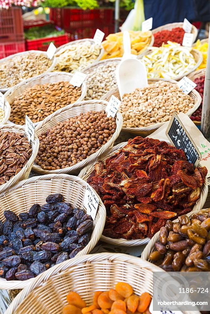 Dried fruits, Aix en Provence, Bouches du Rhone, Provence, Provence-Alpes-Cote d'Azur, France, Europe