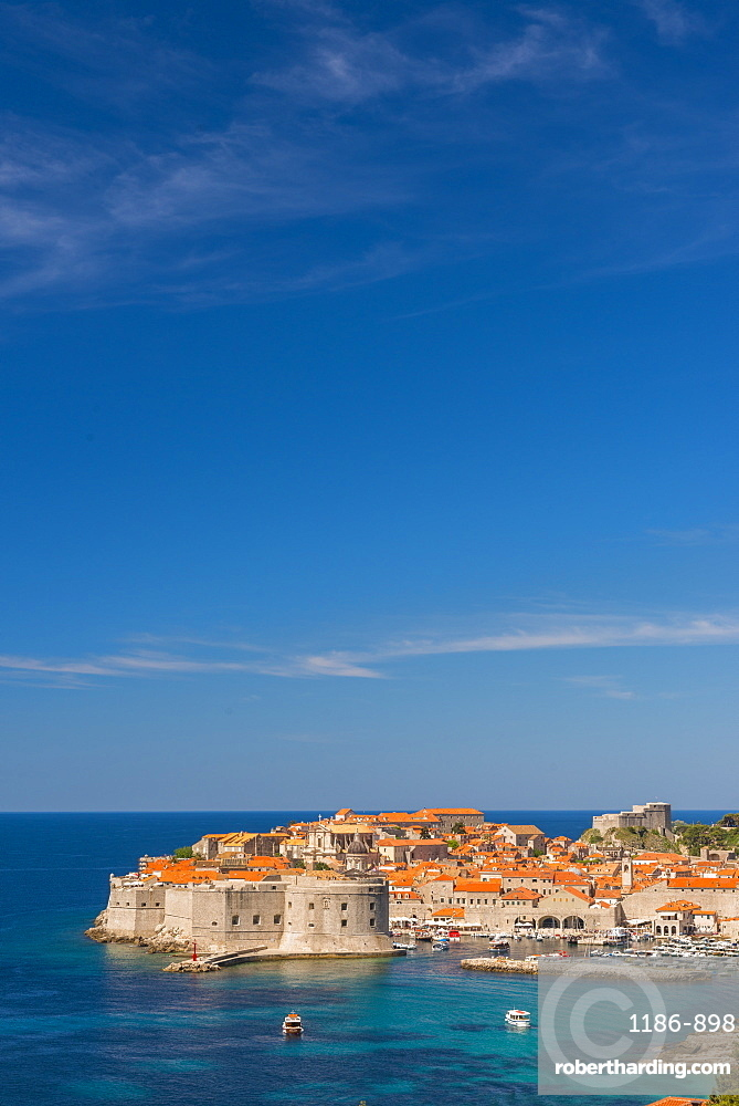 Aerial view of Dubrovnik old town, UNESCO World Heritage Site, Dubrovnik, Croatia, Europe