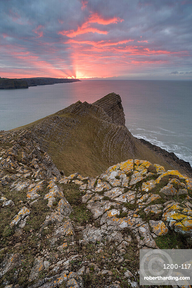 View towards Fall Bay and Mewslade Bay, at sunrise, Gower Peninsula, South Wales, United Kingdom, Europe