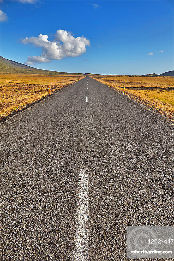 An arrow-straight road cuts across a lava field in Snaefellsjokull National Park, Snaefellsness peninsula, western Iceland, Polar Regions