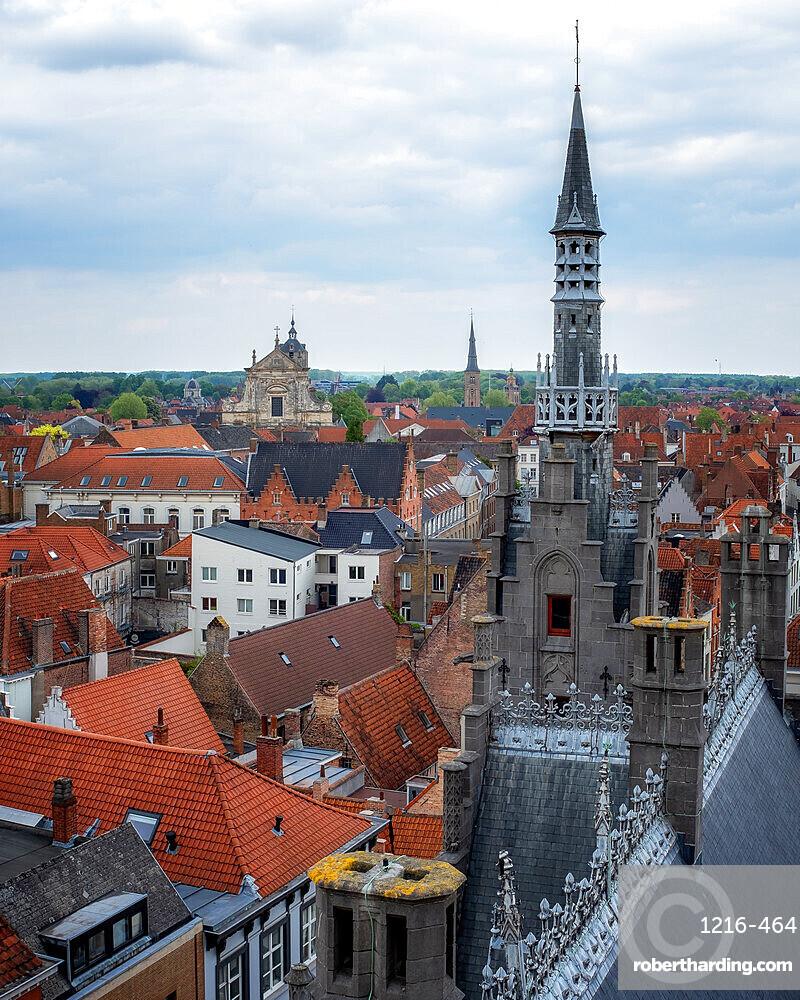 Rooftops of Bruges, Bruges, West Flanders, Belgium, Europe
