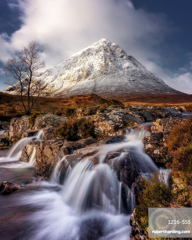 Buachaille Etive Mor and the River Coupall, Glen Etive, Western Highlands, Scotland, United Kingdom, Europe