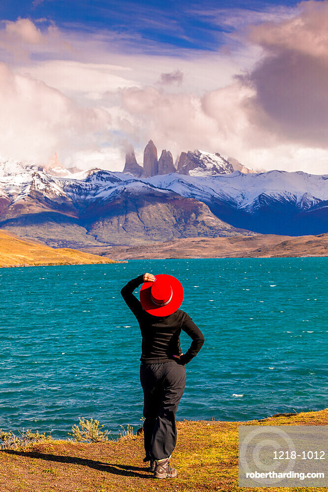 Enjoying the beautiful scenery of Torres del Paine National Park, Patagonia, Chile