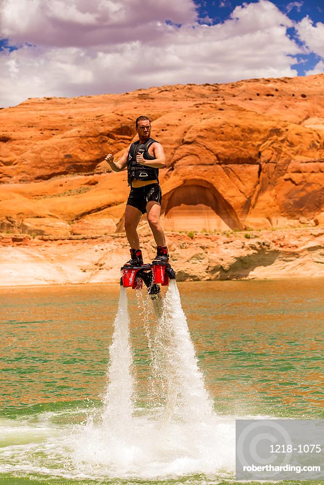 Flyboarding with Bravada Yachts on Lake Powell, border of Arizona and Utah, United States of America, North America
