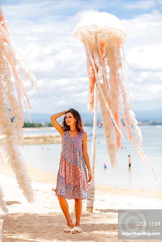 Woman at Sanur Beach, Bali, Indonesia, Southeast Asia, Asia
