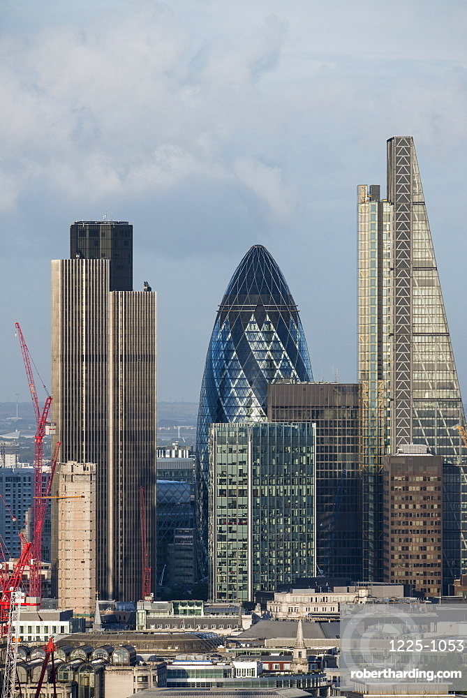 A view of the City of London including Tower 42, Swiss Re (The Gerkin), and Leadenhall Building (The Cheesegrater), from the top of Centre Point Tower in London, England, United Kingdom, Europe