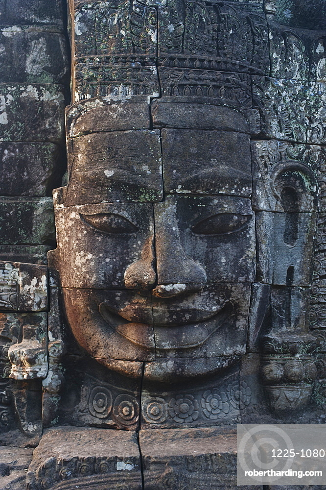 One of the faces on the Bayon temple at Angkor, UNESCO World Heritage Site, Siem Reap, Cambodia, Indochina, Southeast Asia, Asia
