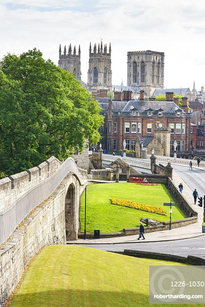 Medieval city walls and York Minster, York, North Yorkshire, England, United Kingdom