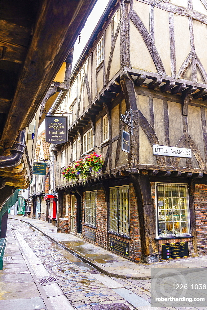 The Shambles, a preserved medieval street in York, North Yorkshire, England, United Kingdom