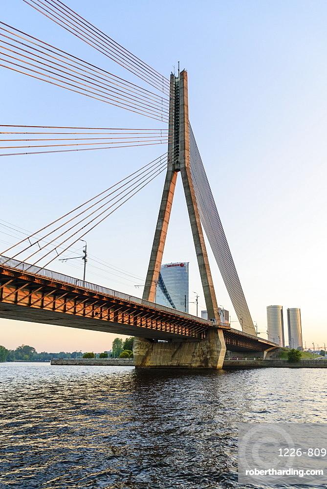 Vansu Bridge over the Daugava River , Riga, Latvia, Europe