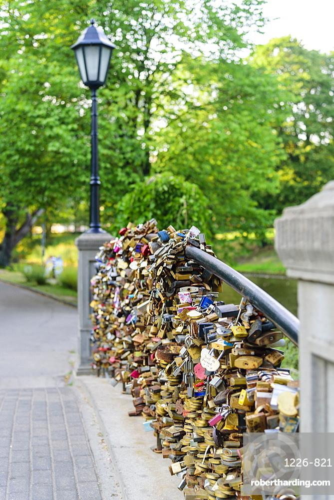 Lovers Locks on Bridge, Bastejkalnna Parks, Riga, Latvia, Europe