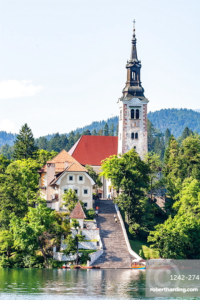 The Pilgrimage Church of the Assumption of Mary (Our Lady of the Lake), located on an island in Lake Bled, Slovenia, Europe