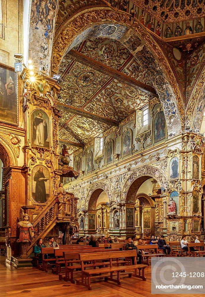 Saint Francis Church, interior, Quito, Pichincha Province, Ecuador, South America