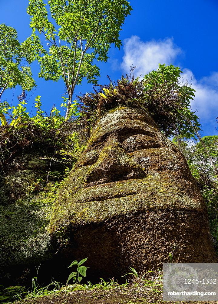 Face Sculpture in Tuff Rock, Asilo de la Paz, Highlands of Floreana (Charles) Island, Galapagos, UNESCO World Heritage Site, Ecuador, South America