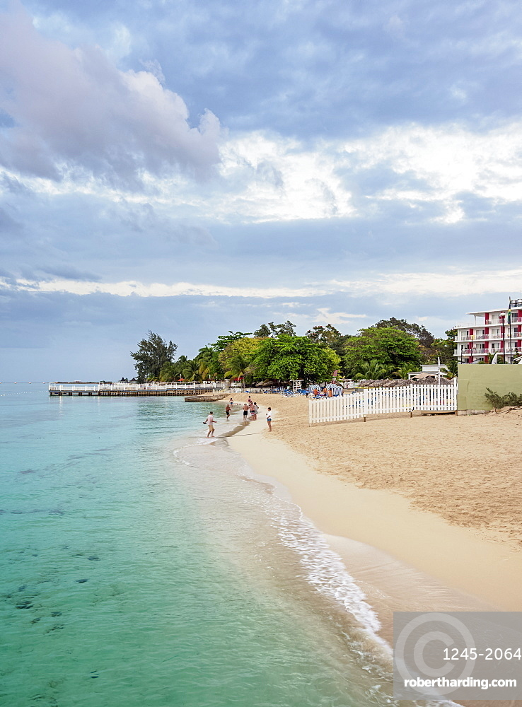 Doctor's Cave Beach at dusk, Montego Bay, Saint James Parish, Jamaica