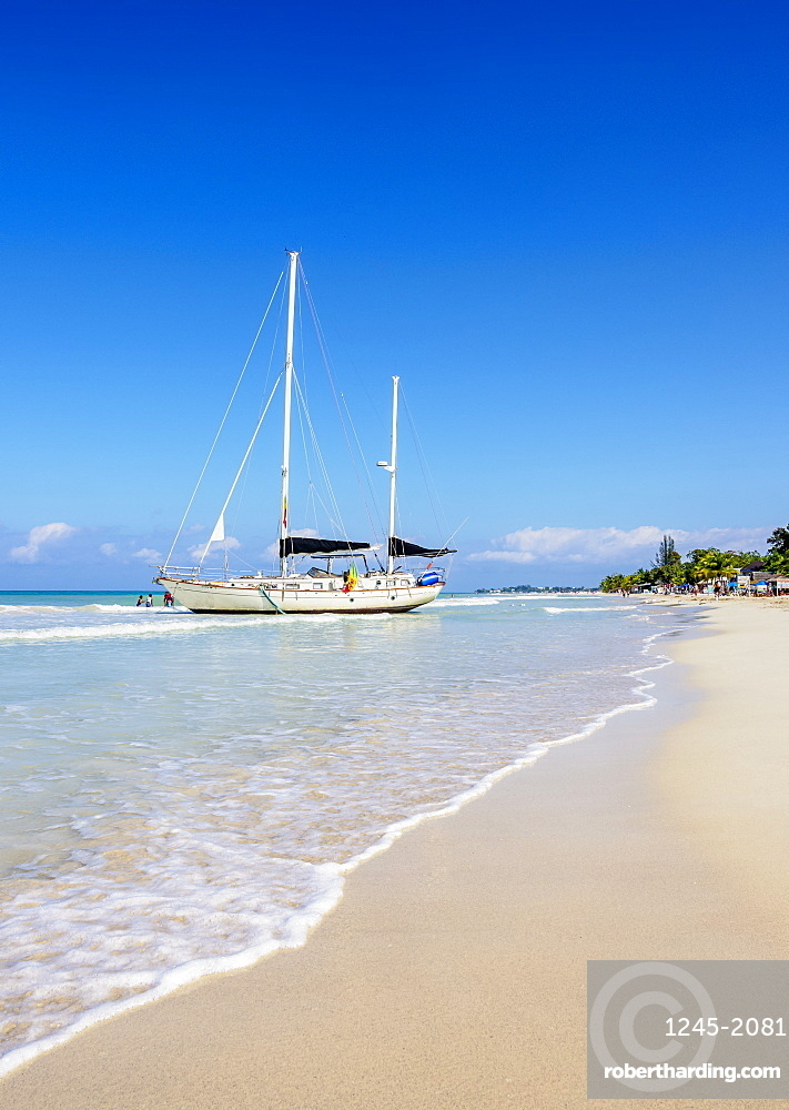 Sailing Ship at Seven Mile Beach, Long Bay, Negril, Westmoreland Parish, Jamaica