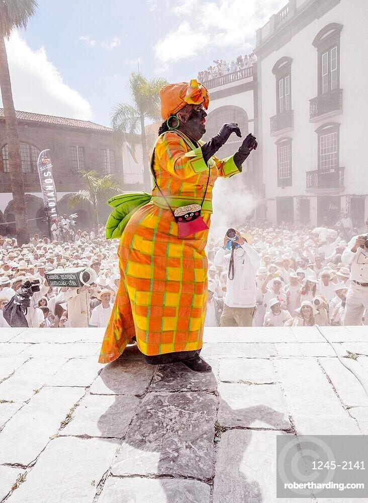 La Negra Tomasa Dance during the Los Indianos Carnival Party at Plaza de Espana in Santa Cruz de La Palma, Canary Islands, Spain, Europe