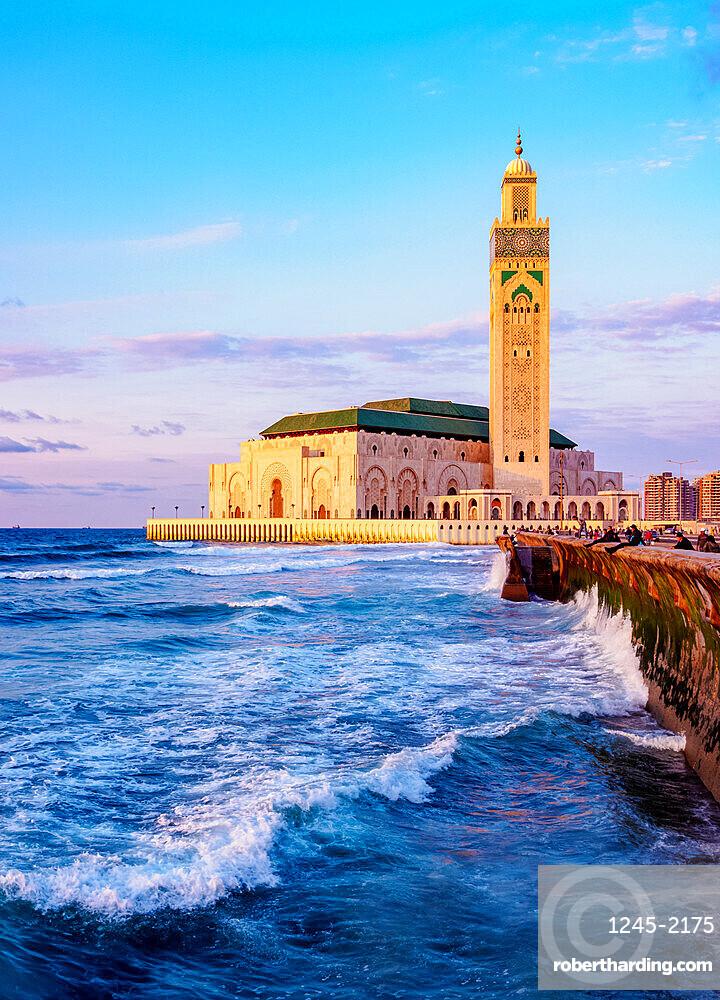 The Hassan II Mosque at sunset, Casablanca, Casablanca-Settat Region, Morocco, North Africa, Africa