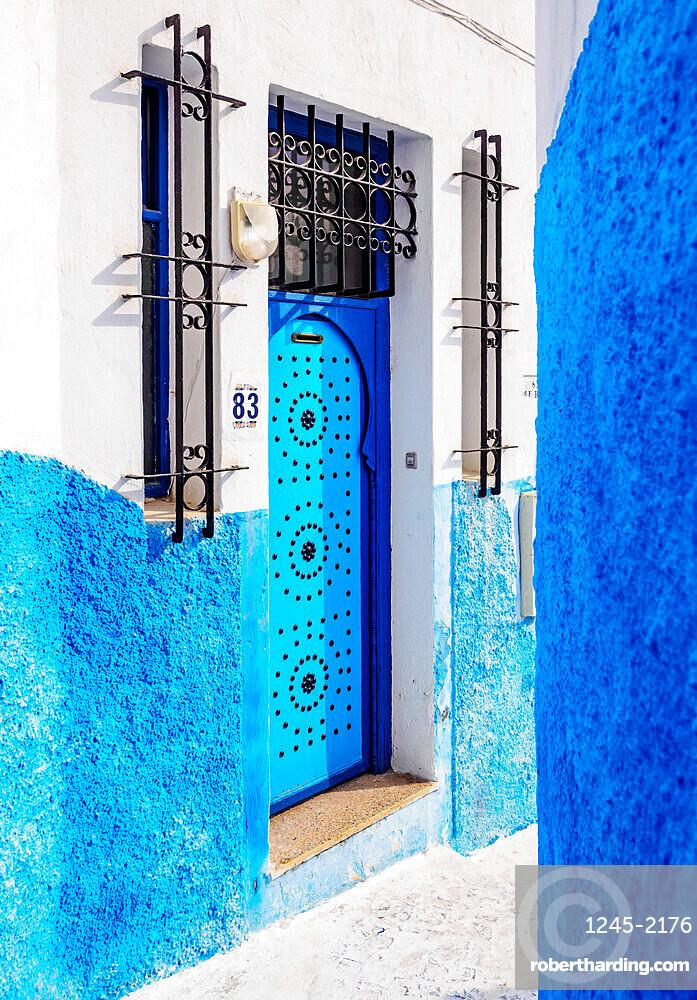Blue street in Kasbah of the Udayas, Rabat, Rabat-Sale-Kenitra Region, Morocco, North Africa, Africa