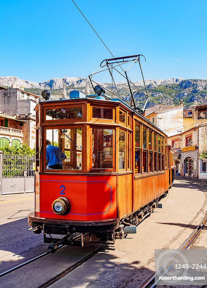 Old Tram in Soller, Mallorca (Majorca), Balearic Islands, Spain, Mediterranean, Europe