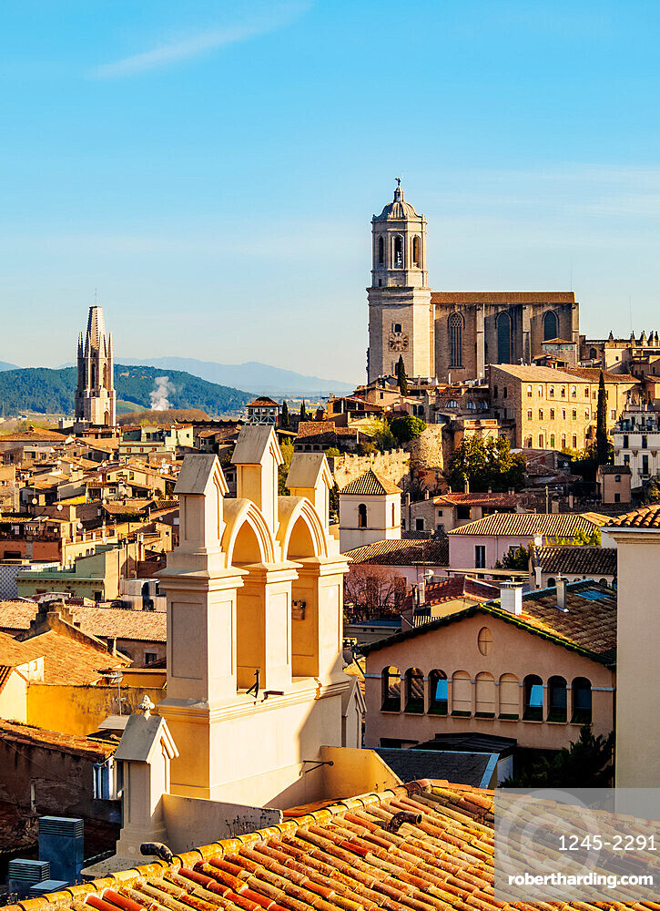 View over the Old Town towards the Cathedral seen from the city walls, Girona (Gerona), Catalonia, Spain, Europe