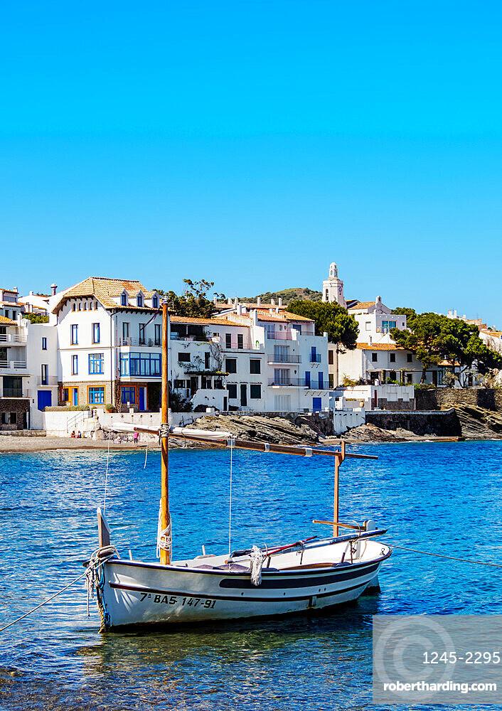 Traditional Fishing Boat by the coast of Cadaques, Cap de Creus Peninsula, Catalonia, Spain, Europe