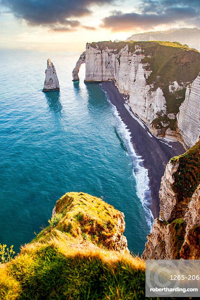Les Falaises (cliffs) of Etretat at sunrise, Etretat, Normandy, France, Europe