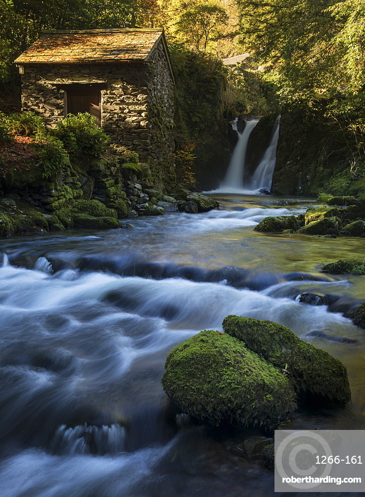 Rydal Falls and The Grot, the Summerhouse designed for viewing the waterfall, Rydal Hall, Ambleside, Lake District National Park, UNESCO World Heritage Site, Cumbria, England, United Kingdom, Europe