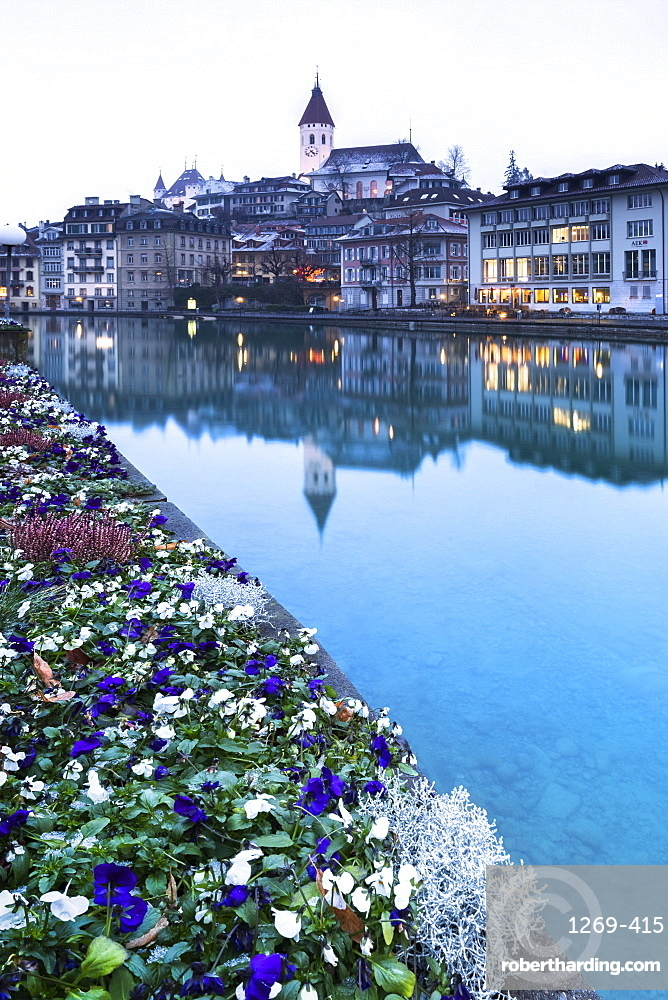 The church reflected in the Aare River, Thun, Canton of Bern, Switzerland, Europe