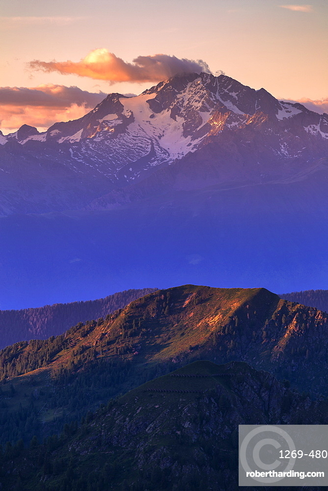 Mount Disgrazia at sunset, Valgerola, Orobie Alps, Valtellina, Lombardy, Italy, Europe
