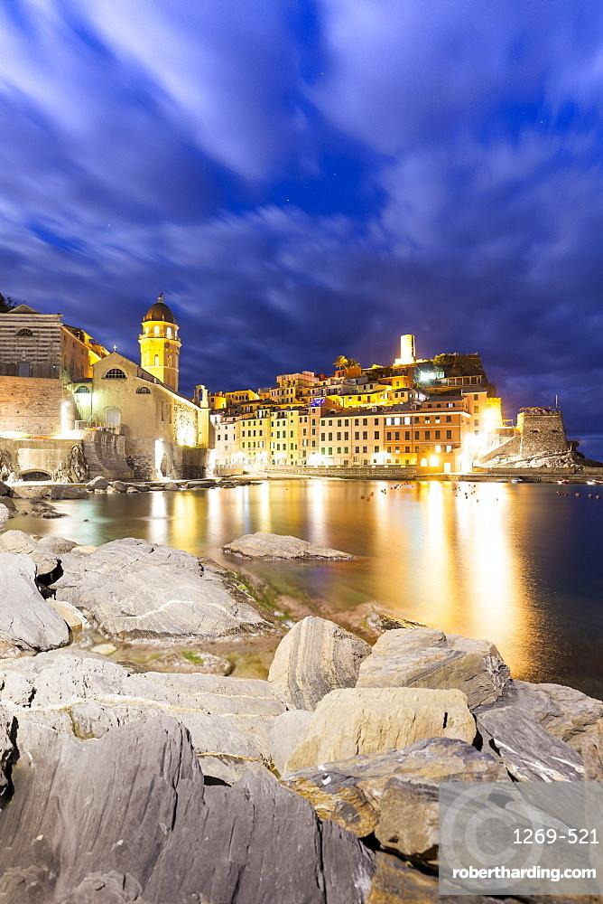 Village of Vernazza at night, Cinque Terre, UNESCO World Heritage Site, Liguria, Italy, Europe