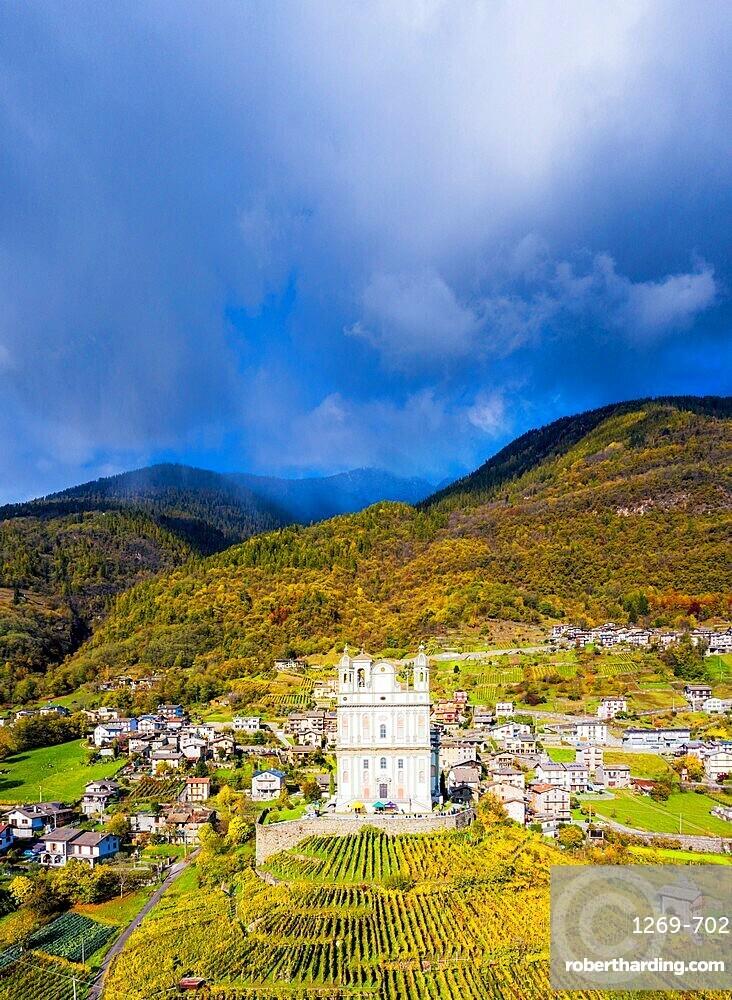 Santa Casa Church in the vineyards, Tresivio, Valtellina, Lombardy, Italy, Europe