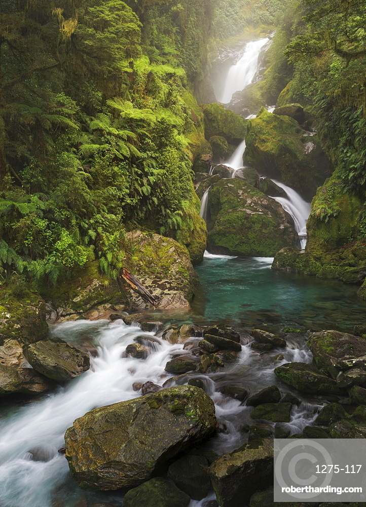 Mackay Falls along the Milford Track, Fiordland National Park, in the South Island, New Zealand, Pacific