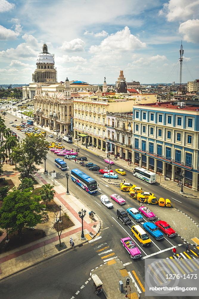 Aerial view the Gran Teatro de La Habana and El Capitolio and colourful old driving, Havana, Cuba, West Indies, Caribbean