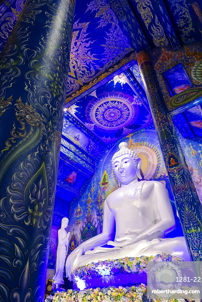 Statue of Buddha inside Wat Rong Suea Ten (Blue Temple) in Chiang Rai, Thailand, Southeast Asia, Asia