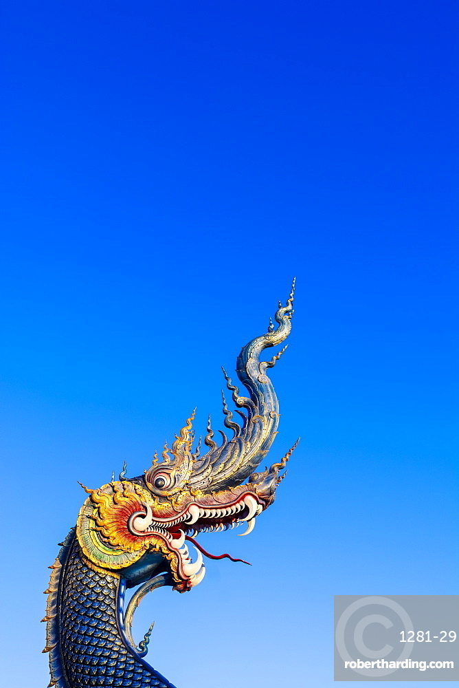 Naga head at Wat Rong Suea Ten (Blue Temple) in Chiang Rai, Thailand, Southeast Asia, Asia